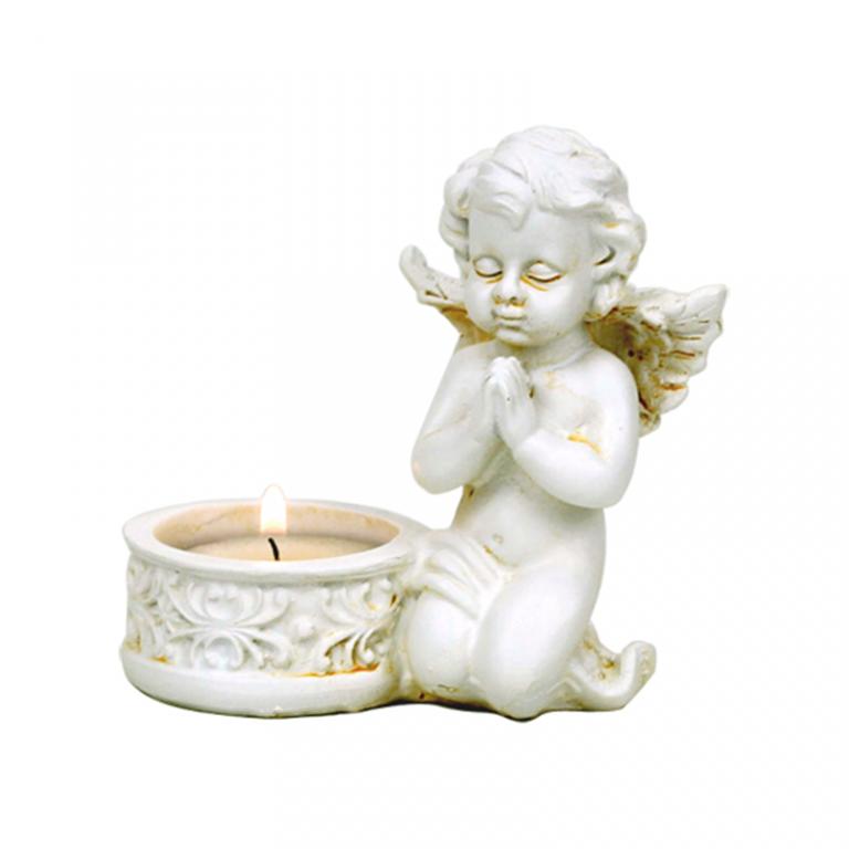 Engel med fyrfads lys