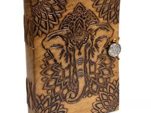 Notesbog med elefant i læder omslag